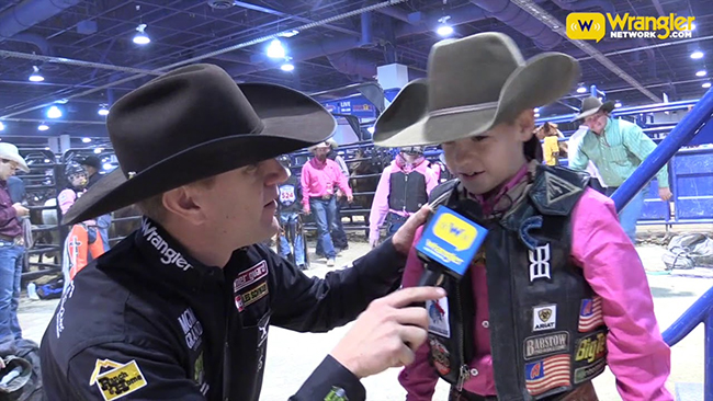 9-year-old Brazos Heck is interviewed during the 2017 Jr.NFR in Las Vegas.(COURTESY PHOTO)a