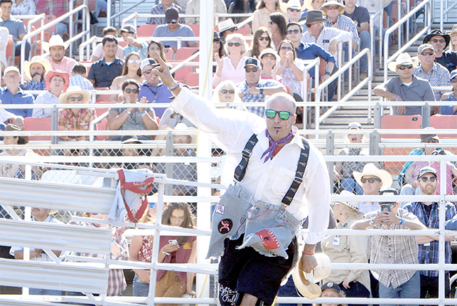Ross Hill celebrates after winning the final round and the average title at the Bullfighters Only Wrangler Bullfight Tour stop at California Rodeo Salinas. After a year and a half away from the game, Hill returned from injury to reach the top in Salinas.