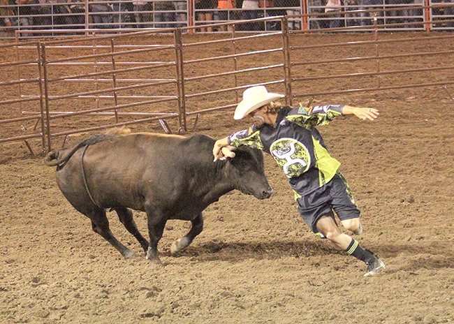 Schell Apple makes a round with his Rockin' B & Magnifica bull during Tuesdsay's Bullfighters Only Wrangler Bullfight Tour stop held in conjunction with Dodge City Xtreme Bulls.