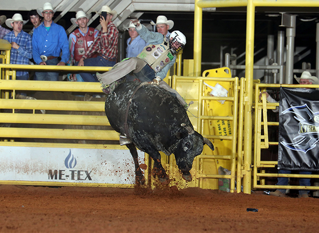 Jordan Spears rides Pete Carr's Smash Mouth for 90 points during the championship round of the Lea County Xtreme Bulls at Jake McClure in Lovington, N.M. Spears earned $9,231 for the win and moved into the top 20 in the world standings. (PHOTO BY PEGGY GANDER)