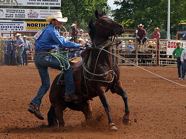 Bo Yaussi, shown in this photo from 2016, finished second in the tie-down roping race this past weekend in Stillwater, Okla. He is second in the Central Plains Region standings. (PHOTO COURTESY OF BO YAUSSI)