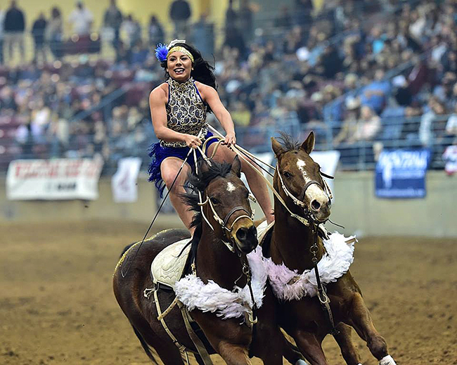 Haley Ganzel will perform her trick-riding show during Claremore's Extreme Roughstock on Saturday, Oct. 7, at the Claremore Expo Center. (PHOTO COURTESY OF HALEY GANZEL)